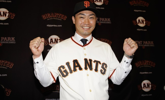 SAN FRANCISCO, CA - JANUARY 20:  Nori Aoki poses for a picture after he was introduced as the newest San Francisco Giant at a press conference at AT&T Park on January 20, 2015 in San Francisco, California.  (Photo by Ezra Shaw/Getty Images)