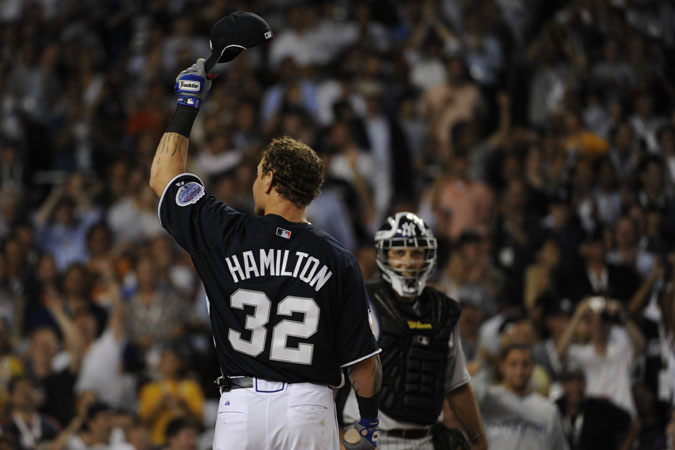 2008 Baseball All-Star Game and Home Run Derby events -- Josh Hamilton tips his cap after a home run in the first round. He hit a record 28 home runs in the first round. Photo by Robert Deutsch, USA TODAY